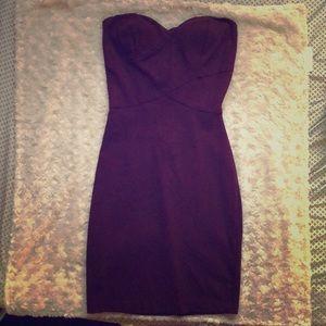 Strapless Deep Purple Body Hugging Dress